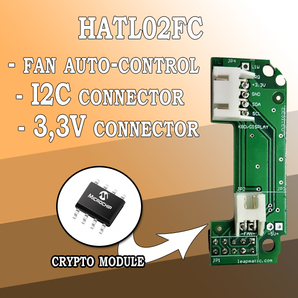 HATL02FC Fan auto-control module for Raspberry Pi with I2C pins and Crypto chip
