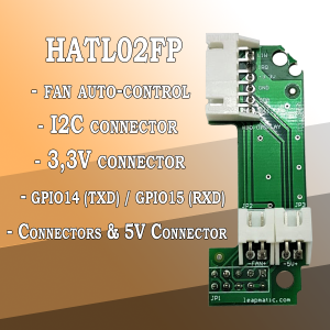 HATL02FP Fan auto-control module with I2C & 3.3V & 5V Connectors for Raspberry Pi
